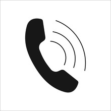 Phone Call Symbol Silhouette Icon On Background