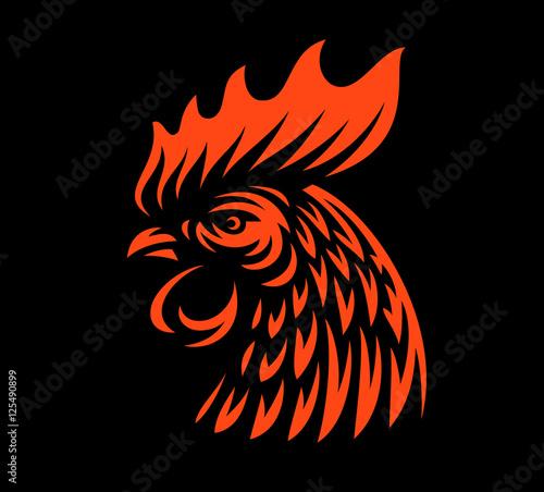 Obraz na plátně Head rooster illustration on dark background