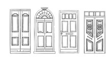 Hand Drawn Vector Illustrations - Old Vintage Doors. Isolated