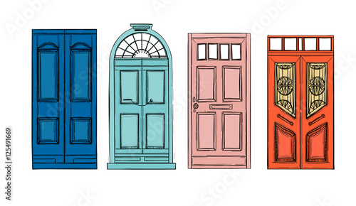 Hand drawn vector illustrations - old vintage doors. Isolated Canvas Print