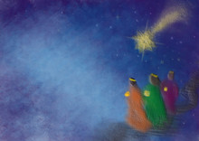 Three Kings Or Three Wise Men With Christmas Star. Christmas Nativity Abstract Artistic Illustration.