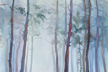 Foggy Forest Watercolor Backgr...