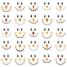 Vector Collection Of Cute Scarecrow Faces