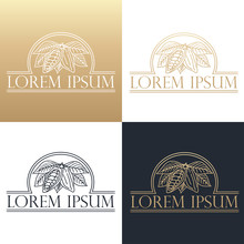 Hand Drawing Logo Designes Of Cocoa Beans.