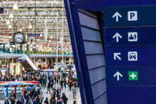 Directional Signs At Waterloo Station In London