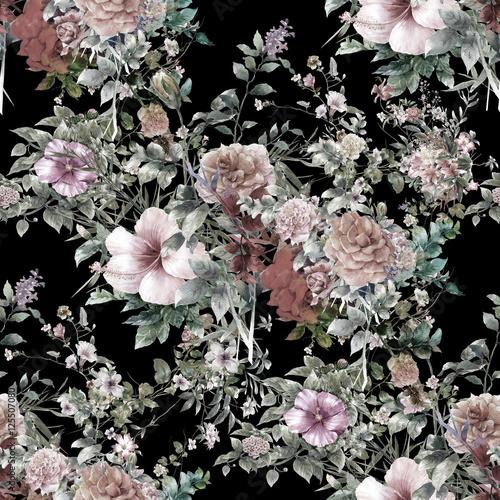 Aquarelle de feuilles et de fleurs, modèle sans couture sur fond sombre Poster