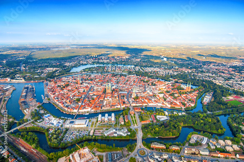 City from above, top view, Lübeck, Germany