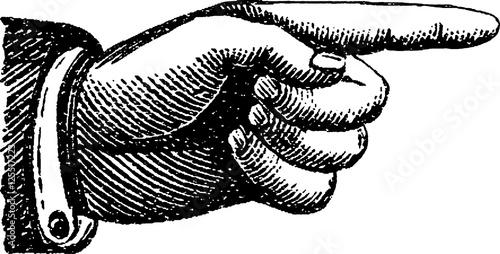 Fotografie, Obraz  Vintage image finger pointing
