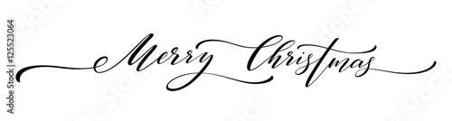 Obraz na plátne Merry Christmas hand lettering isolated. Vector illustration