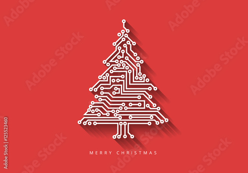 Christmas Tree Illustration.Computer Chip Christmas Tree Illustration On Colored
