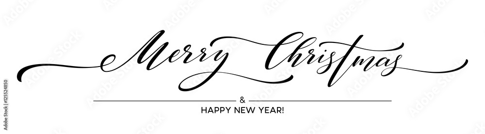 Fototapety, obrazy: Merry Christmas hand lettering isolated. Vector illustration