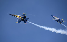 NAS Pensacola Florida USA - October 2016 -  Blue Angels FA 18 Hornet Jets In Flight Over Their Pensacola Base