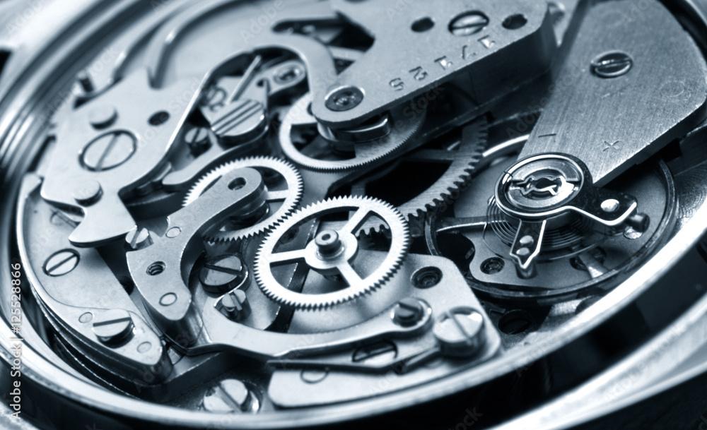 Fototapety, obrazy: vintage watch machinery macro detail monochrome