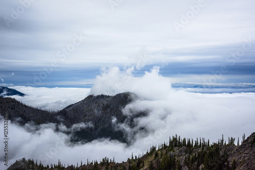 Canvas Prints Heaven Scenic view of clouds covering mountain