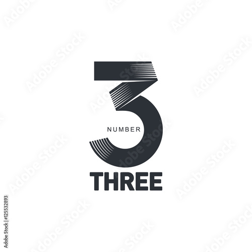 Black and white number three strips logo template, vector illustrations isolated on white background. Graphic logo with strips logo with three dimensional number three Wall mural