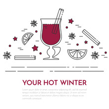 Winter Sales Mulled Wine Banner Linear Style