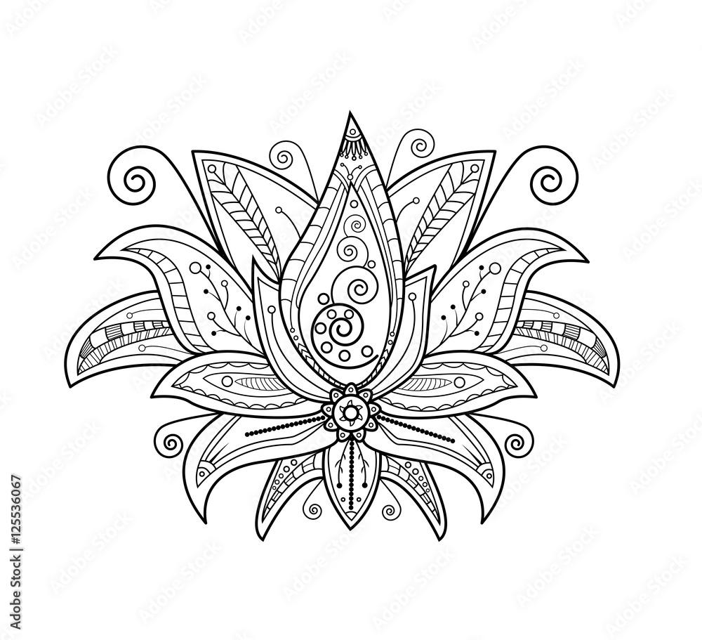 Fototapety, obrazy: Vector illustration of lotus flower for coloring book, fiore di loto vettoriale da colorare