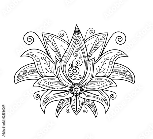 Fotografie, Obraz  Vector illustration of lotus flower for coloring book, fiore di loto vettoriale