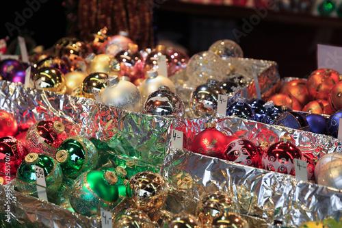 Photo  Colorful close up details of christmas fair market