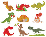 Fototapeta Dinusie - T-rex dinosaur vector set.
