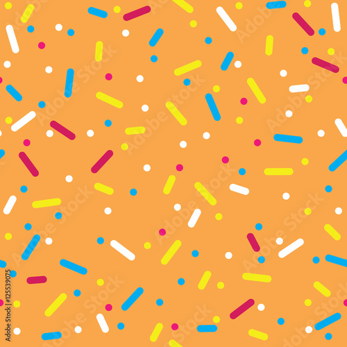 fototapeta na ścianę Donut glaze seamless pattern. Cream texture with topping of colorful sprinkles and beads on orange background. Food bakery decoration. Vector eps8 illustration.