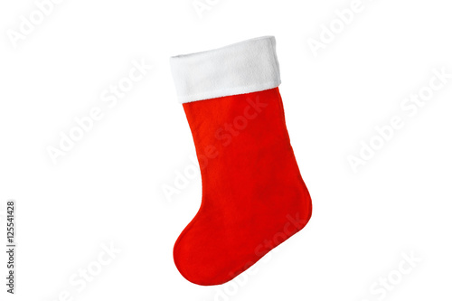 Photographie  Cute Christmas stocking isolated on white