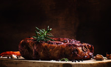 Baked Pork Shoulder With Pepper, Rosemary And Garlic, Vintage Wo