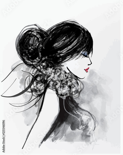 Stickers pour porte Art Studio Fashion woman model with a scarf