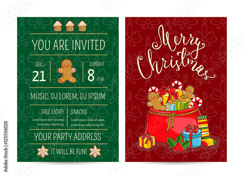 new year greetings xmas celebrating by studioworkstock invitation on christmas party with date and time large santasack with gifts sweets