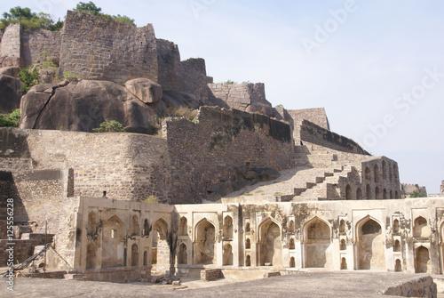 Massive citadel ruins of the Golconda Fort, Hyderabad, Andhra Pradesh, India, As Canvas Print