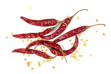 Dried Chili Peppers With Seed On White Background.Dry Chilli Iso