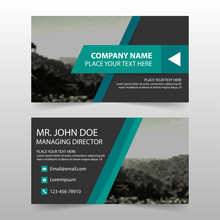 Green Black Corporate Business Card, Name Card Template ,horizontal Simple Clean Layout Design Template , Business Banner Template For Website