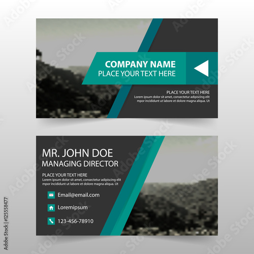 Green Black Corporate Business Card Name Card Template Horizontal
