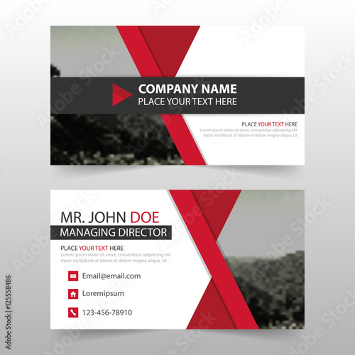 Valokuvatapetti Red corporate business card, name card template ,horizontal simple clean layout