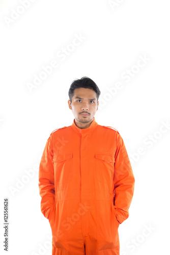 Prisoner man isolated on white background. Canvas Print
