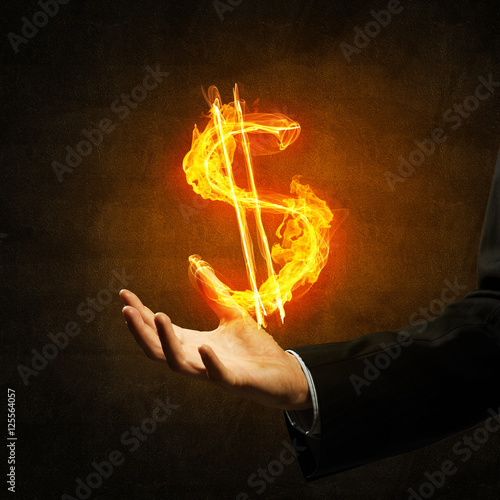 Canvas Prints Flame Dollar currency fire symbol