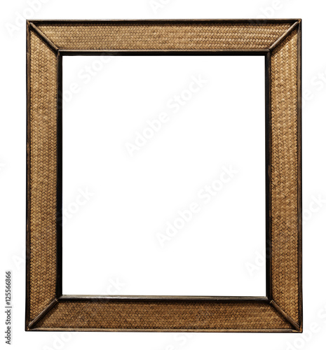 Rattan Wicker Wooden Picture Frame Wall Mirror Decorate Isolated On White Background