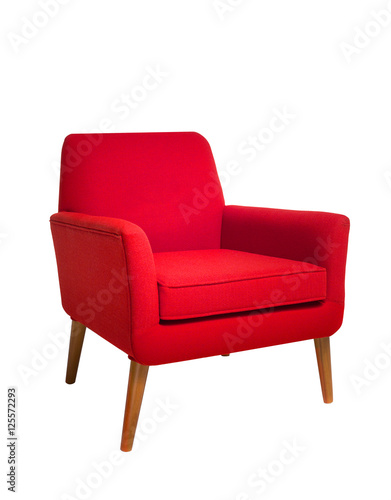 Fotografie, Obraz  Red chair isolated on white background