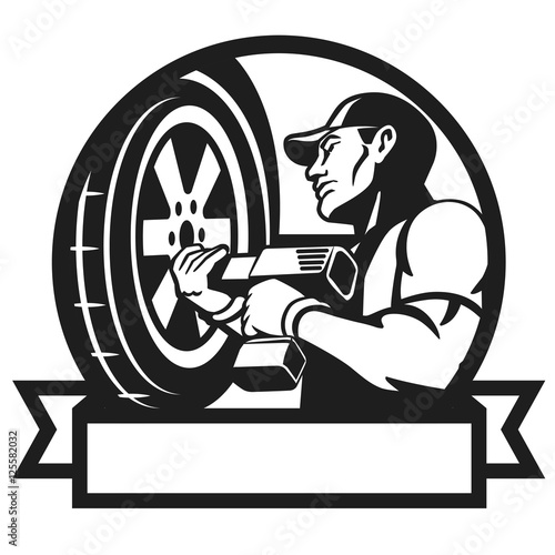 Logo For Car Service Auto Mechanic Changing Tyre On Car Auto