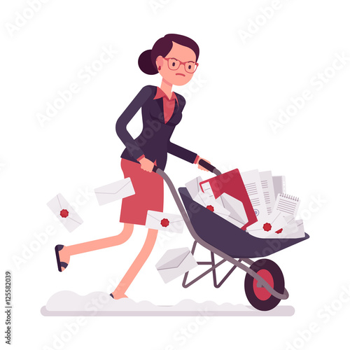 Businesswoman pushing quickly a wheelbarrow full of paper Fototapet
