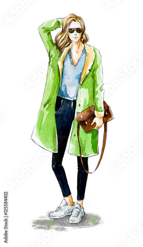 Fashion sketch. Street style.