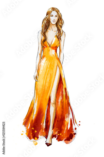 Fashion sketch. Watercolor dress. Catwalk Wall mural