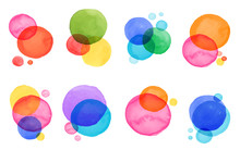 Colorful Abstract Watercolor, Vibrant Color Stains, Backgrounds, Elements. For Invitations, Website Themes, Banners