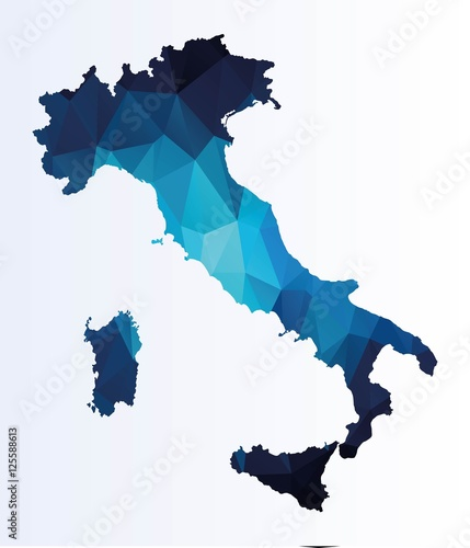 Polygonal map of Italy Fototapet