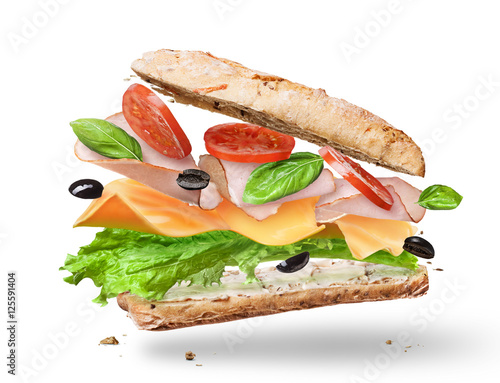 Foto op Canvas Snack Ciabatta Sandwich with Lettuce, Tomatoes, Ham