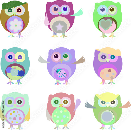 Canvas Prints Set of nine cartoon owls with various emotions