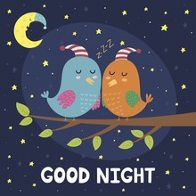Good Night Card With Cute Sleeping Birds