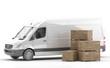 Furgoneta blanca para el transporte de mercancías urgentes o paquetería junto a cajones de madera apilados