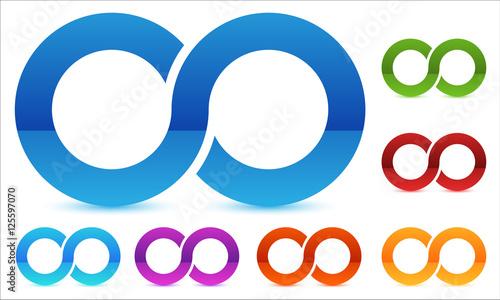 Cuadros en Lienzo Infinity symbol in several color. Icon for continuity, loop, end