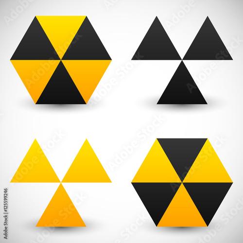 Set of geometric radiation sign icons. 4 version. Wallpaper Mural